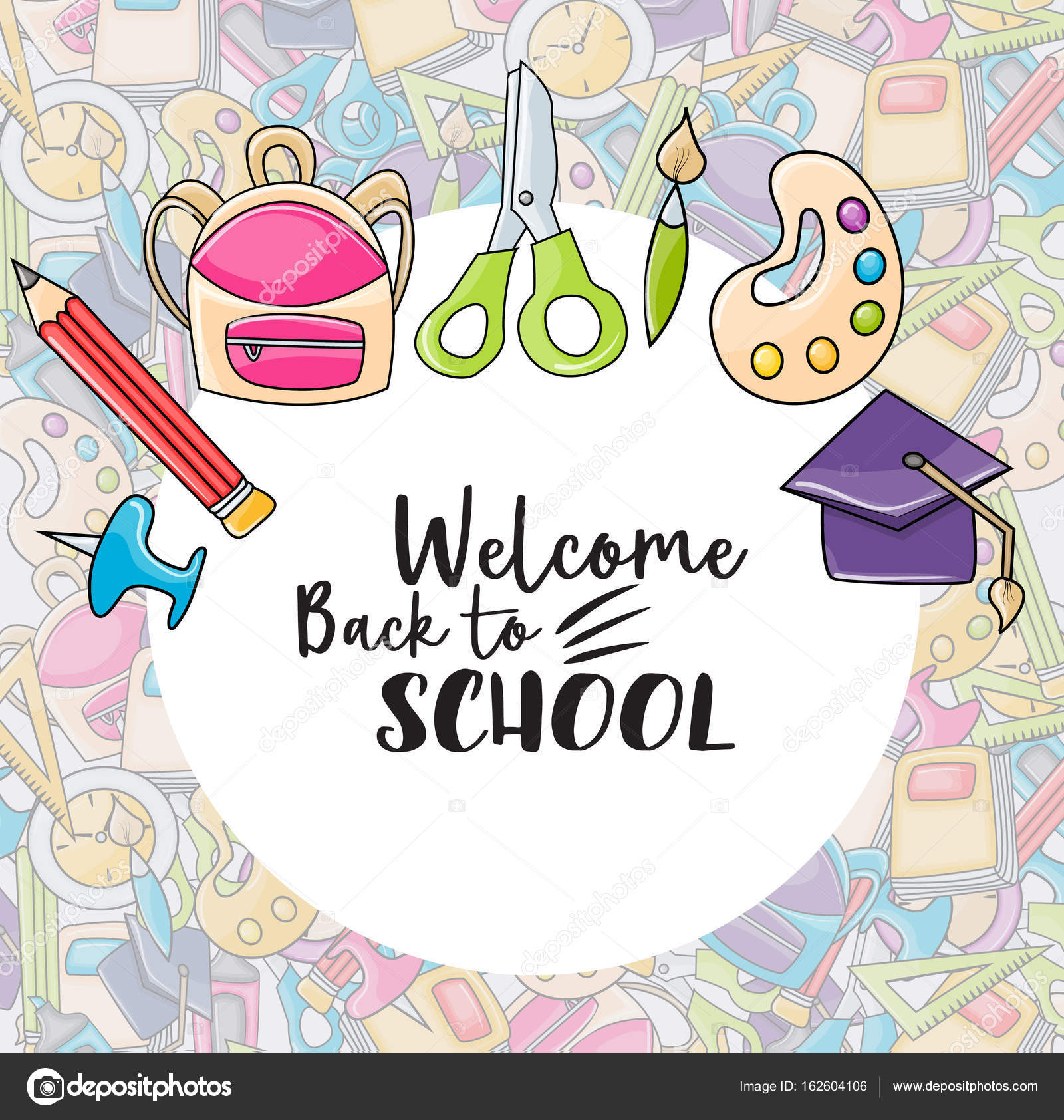 Welcome back to school doodle clip art stock vector milana88 welcome back to school doodle clip art greeting card cartoon vector illustration for flyer to banner typography script text vector by milana88 m4hsunfo
