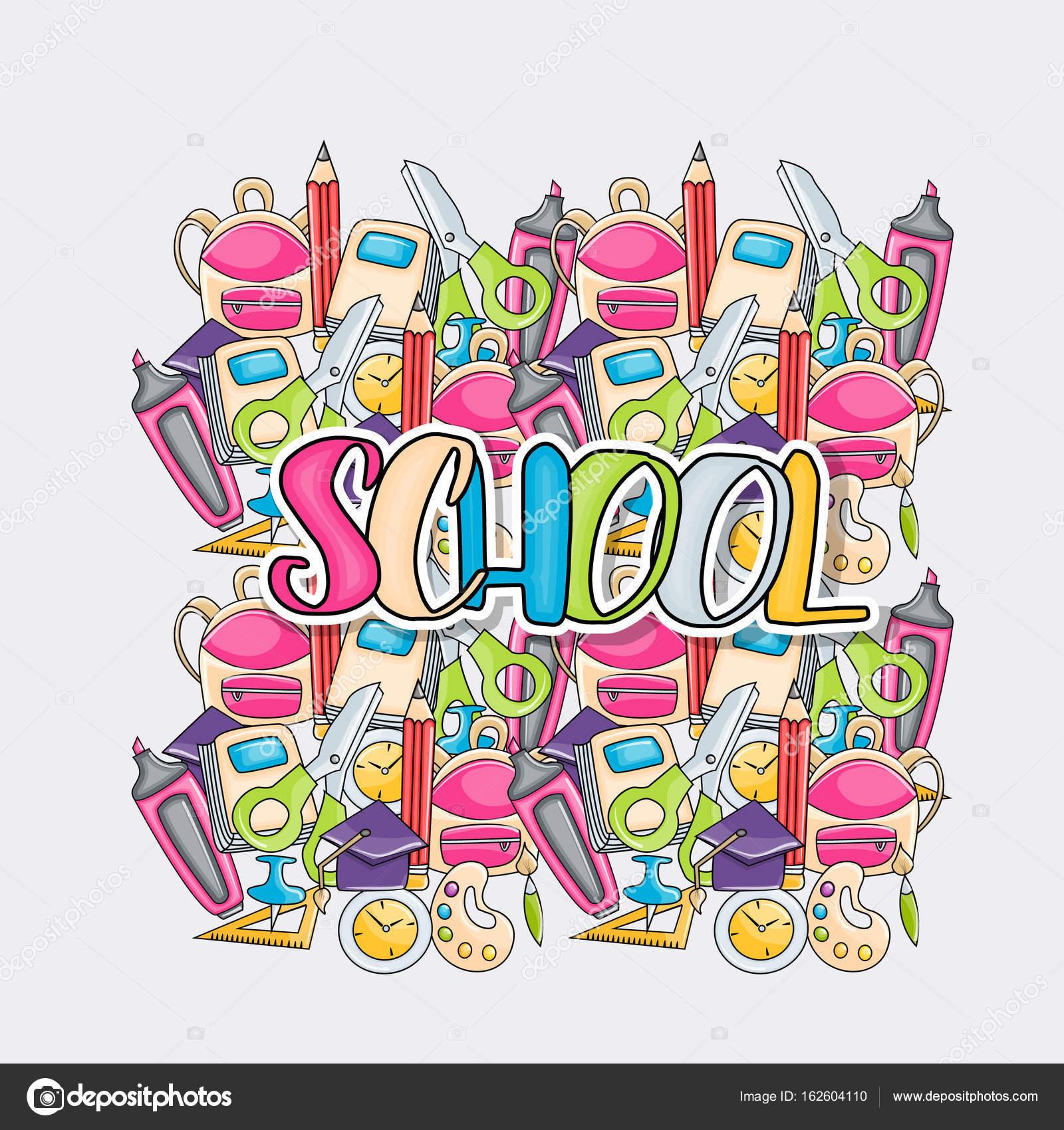 学校の要素クリップ アート落書き漫画のスタイルで — ストックベクター