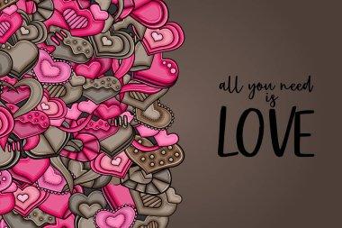 Love hearts hand drawn doodle cartoon card.
