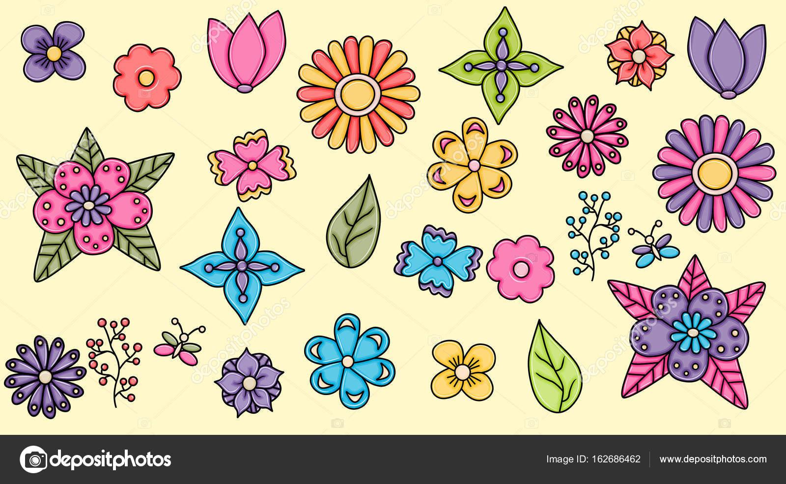 Conjunto De Elementos De Caricatura Dibujada A Mano Flores