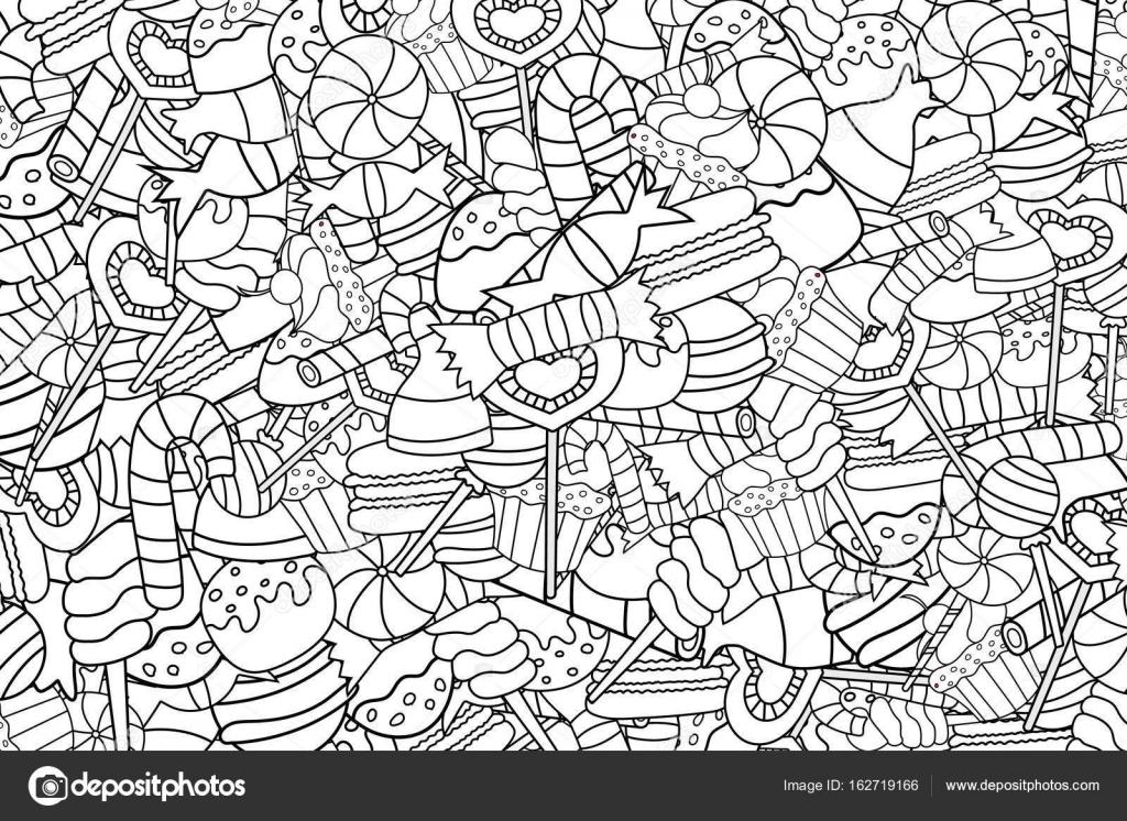 Caramelos y dulces de la historieta doodle diseño del fondo ...