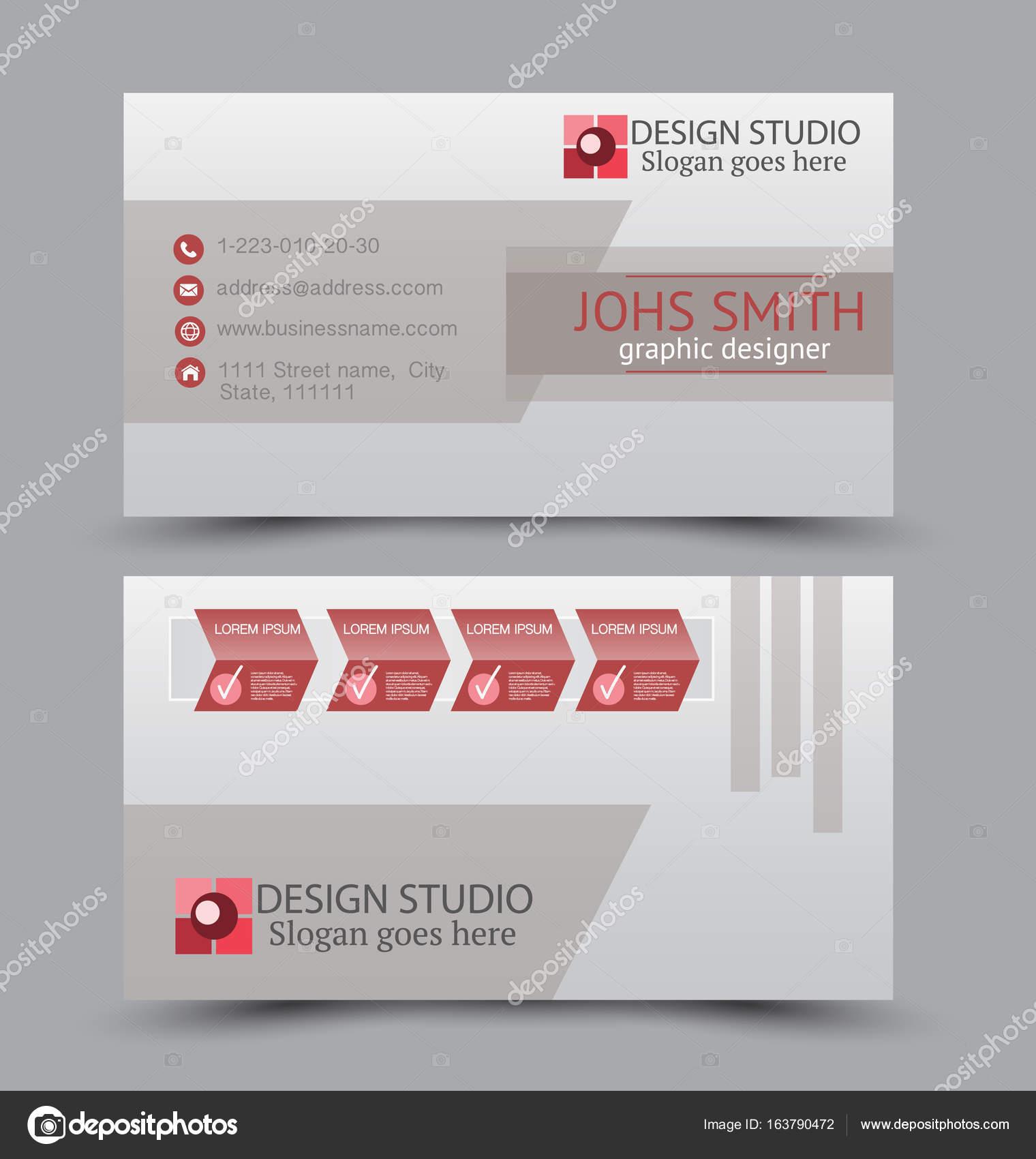 Carte De Visite Design Definie Modele Pour Style Corporatif La Societe Couleur Rouge Illustration Vectorielle Vecteur Par Milana88