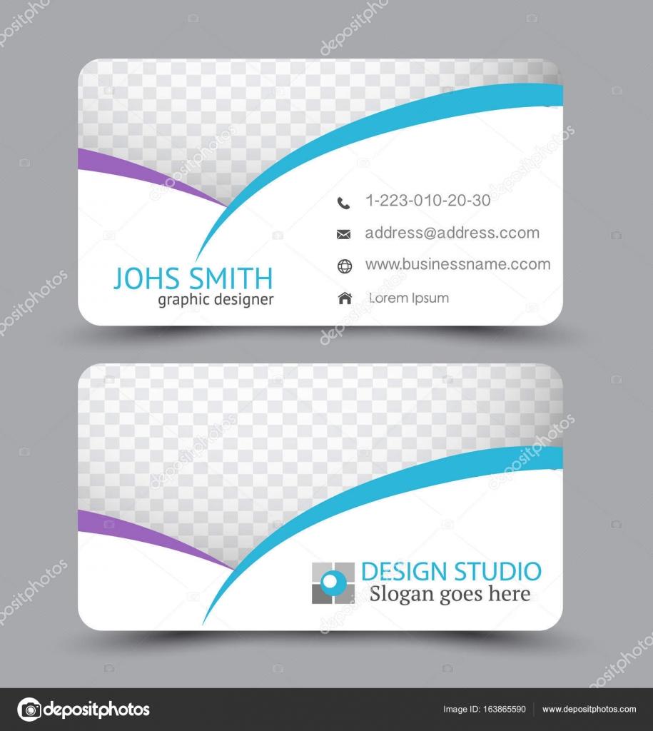 Carte De Visite Design Definie Modele Pour Style Corporatif La Societe Couleur Violette Et Bleue Illustration Vectorielle Vecteur Par Milana88