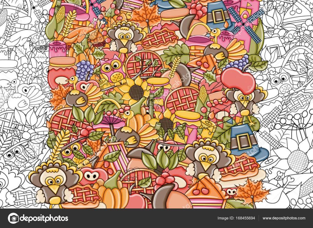 Thanksgiving-Doodle-Hintergrund. Schwarz / weiß ausmalbilder Spiel ...