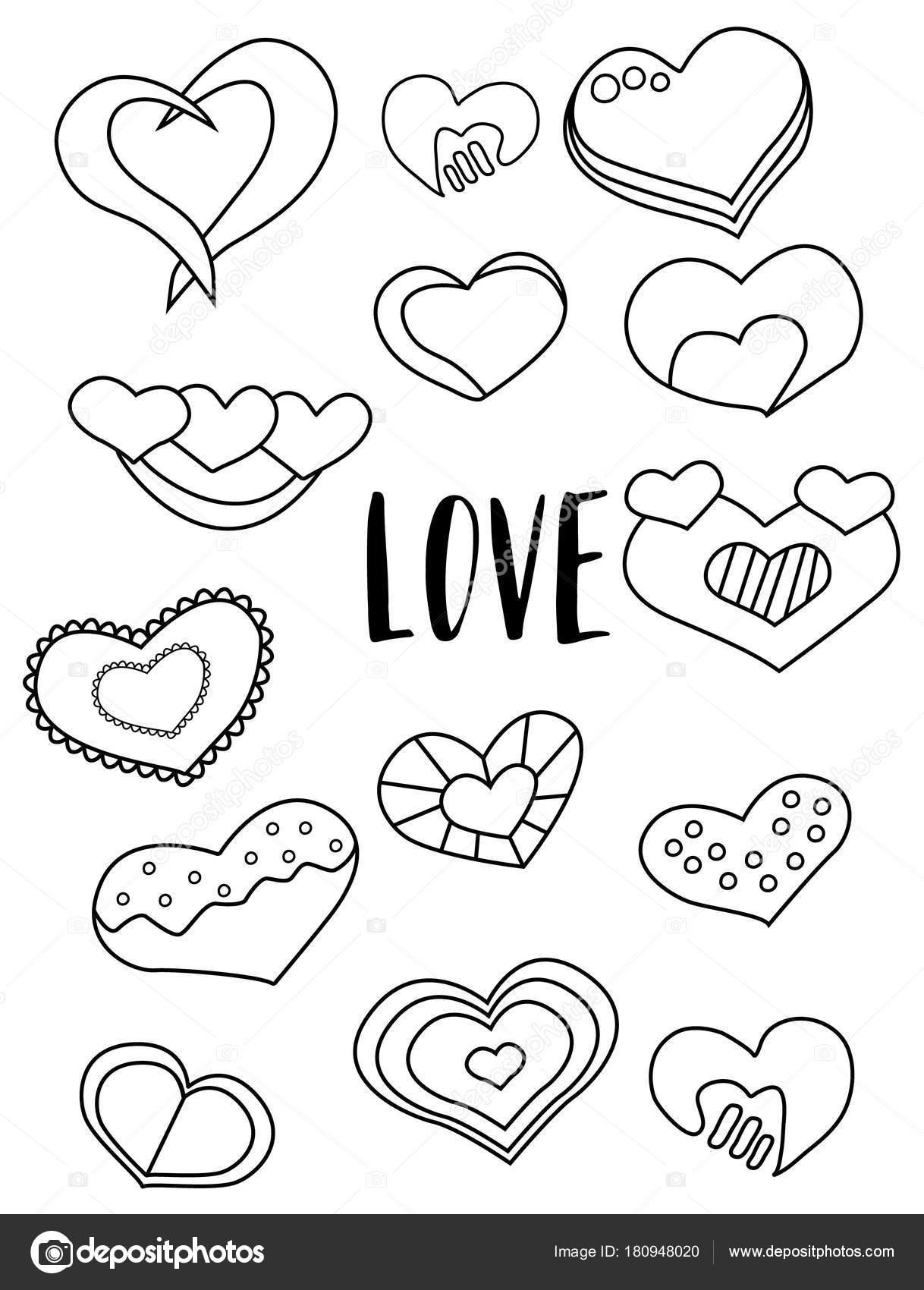 Kalpler Siyah Beyaz çıkartmaları Kümesi Sevgililer Günü öğeleri