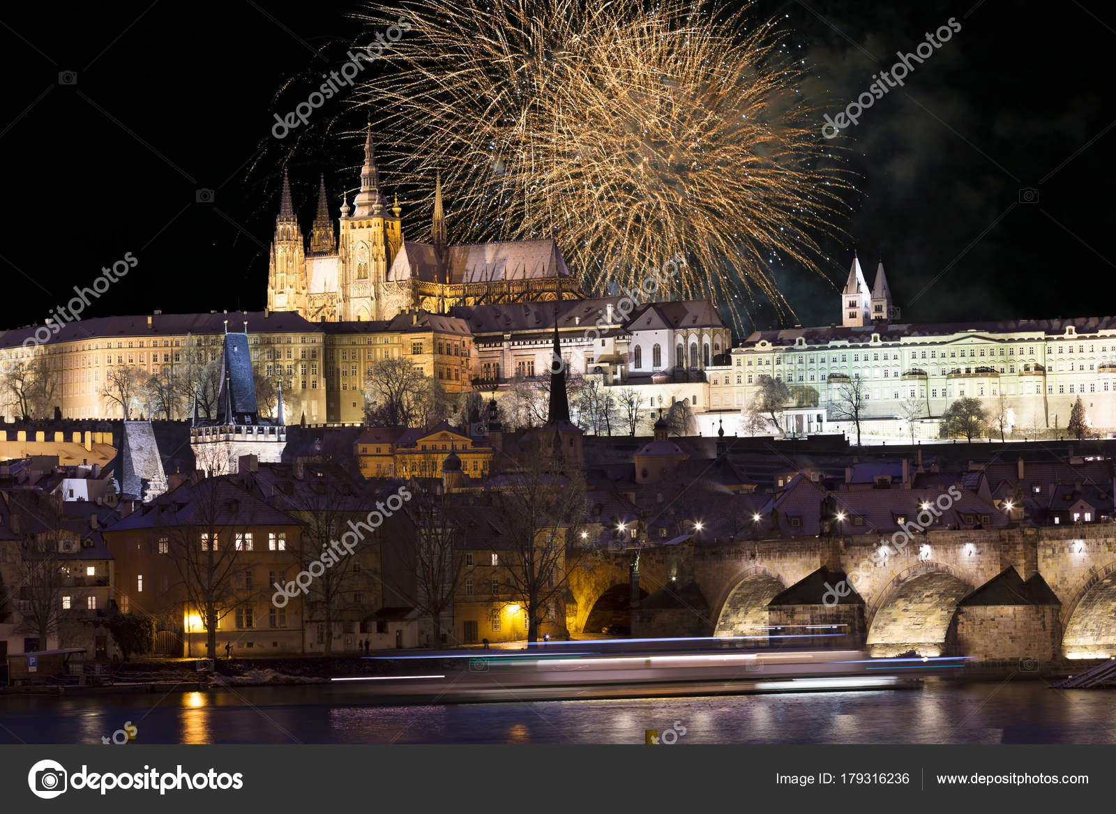 Fireworks Night Colorful Snowy Prague Gothic Castle Charles Bridge Czech Stock Photo
