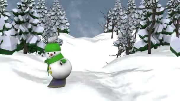 Schneemann auf dem Snowboard.