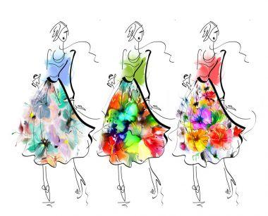 women in beautiful flower skirts