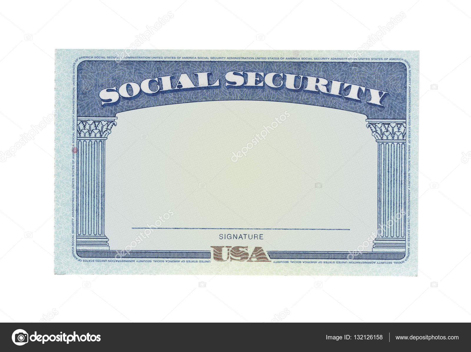 Stock Social Blank Card White — On © Background Photo Security Isolated Chones 132126158