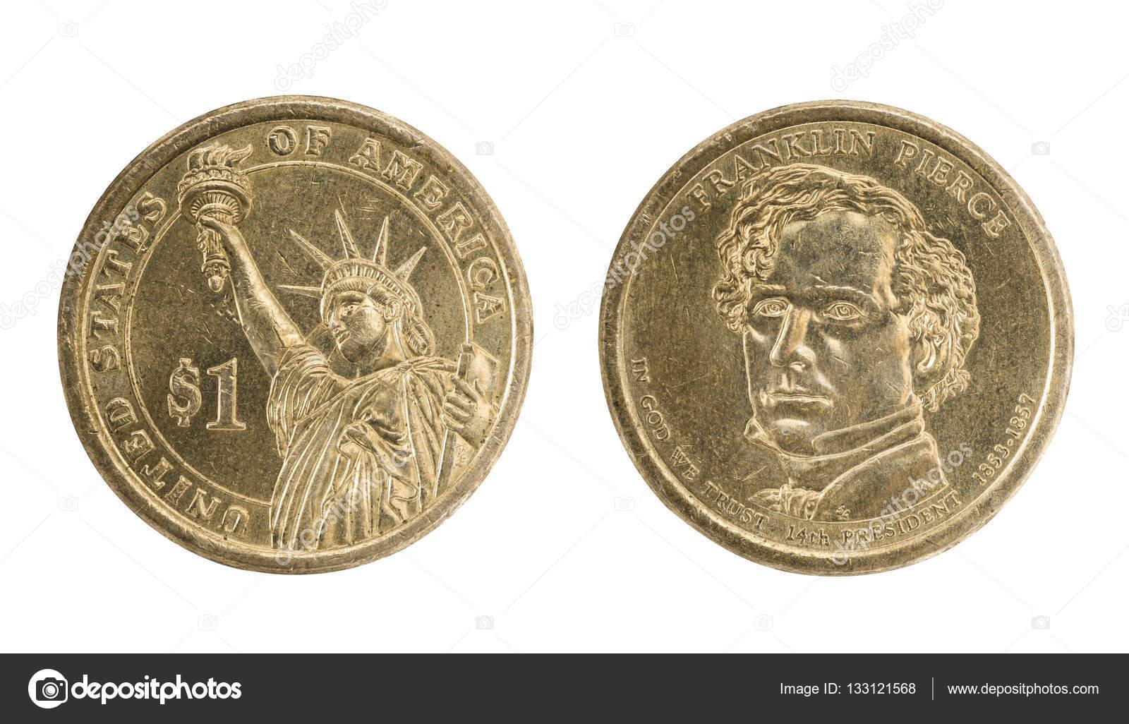 Vorder Und Rückseite Usa 1 Dollar Münze Isoliert Auf Weiss