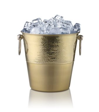 Golden champagne bucket, full with ice. Isolated on white