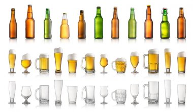 Collection of different beer bottles and glasses isolated on whi