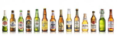 Los Angeles CA - July 6: Set of world popular beer brands isolat
