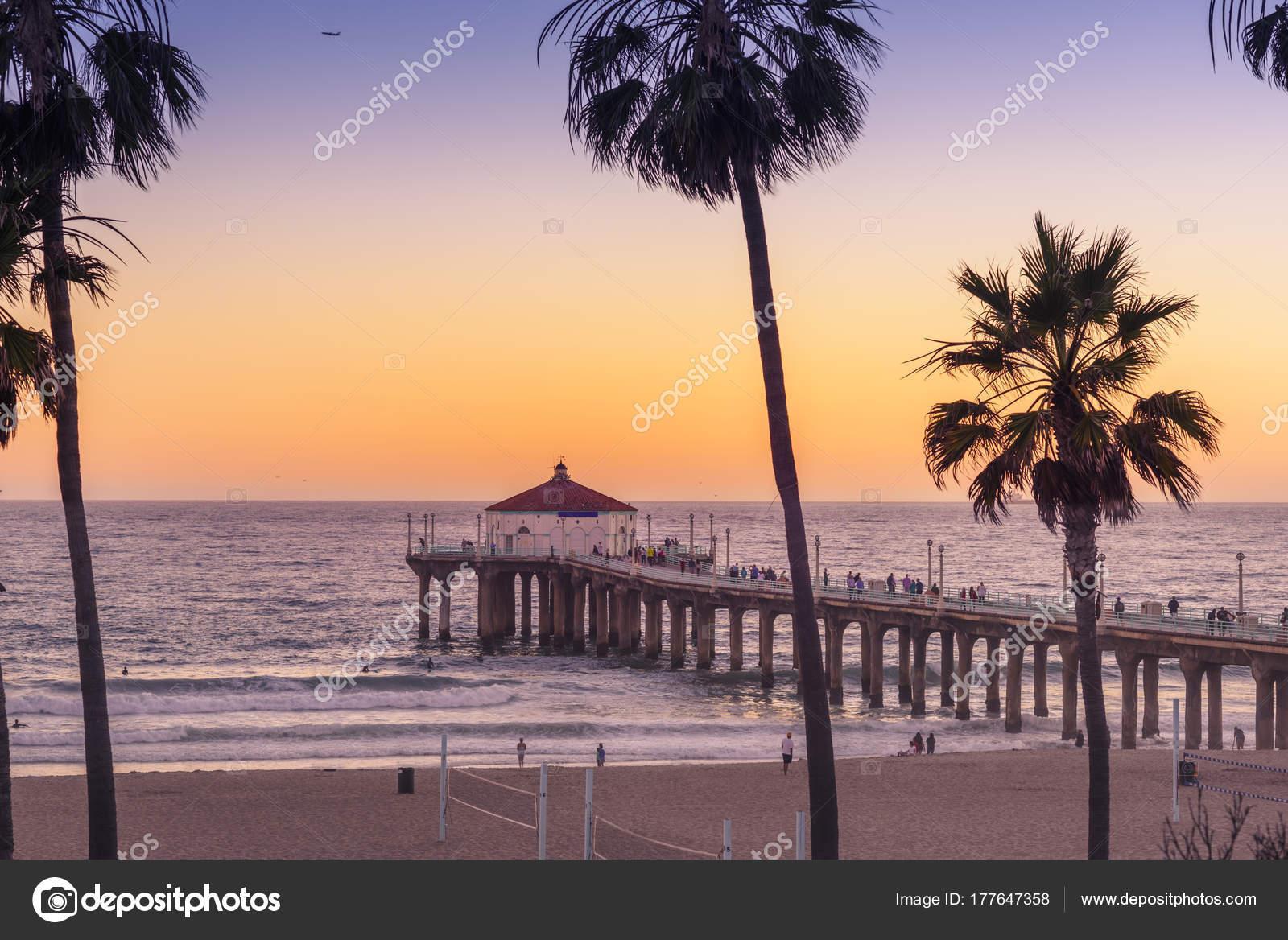 Manhattan Beach Pier Sunset Los Angeles California Stock Photo