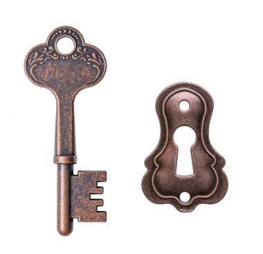 Old key and keyhole isolated on white background
