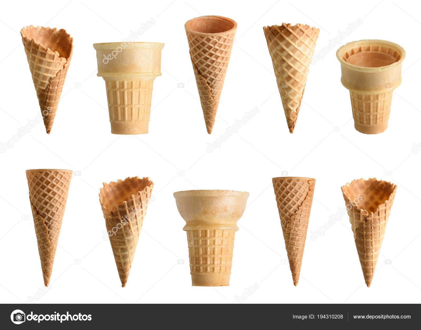 Collection Empty Ice Cream Cone Isolated White Background Stock Photo C Chones 194310208