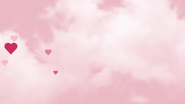 Pozadí srdcí. Animace na valentýnský pozdrav, 8. března, Den žen. Létající srdce animace na růžovém pozadí s bílými mraky. Růžová obloha se srdcem.
