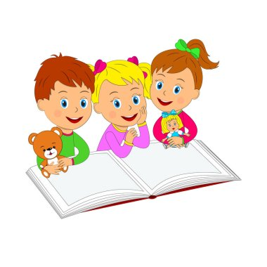 boy and girls with toy and  book