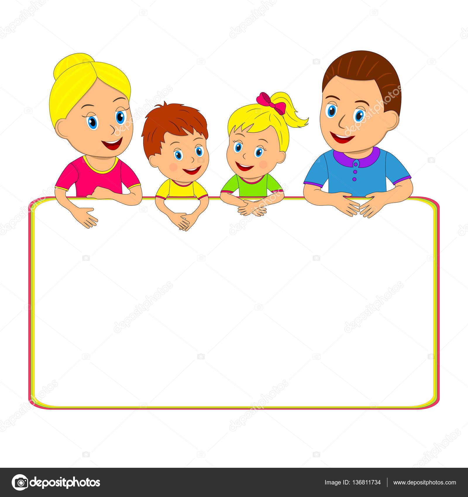 familia y el marco — Vector de stock © iris828 #136811734