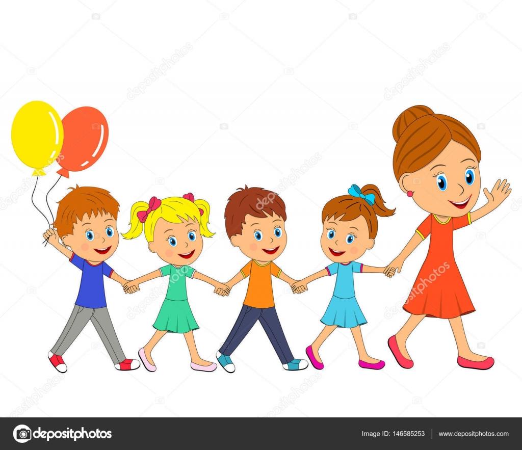 Mujer Y Niños Y Niñas Ir Y Tomarse De Las Manos Vector De Stock