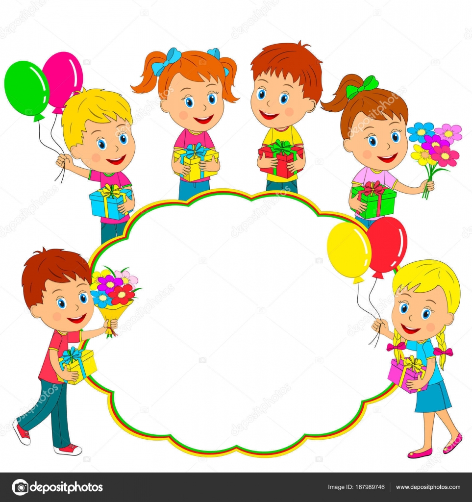 Birthday,boys And Girls Stand With Gifts,balloons And Flowers And Frame,  Illustration, Vector U2014 Vector By Iris828