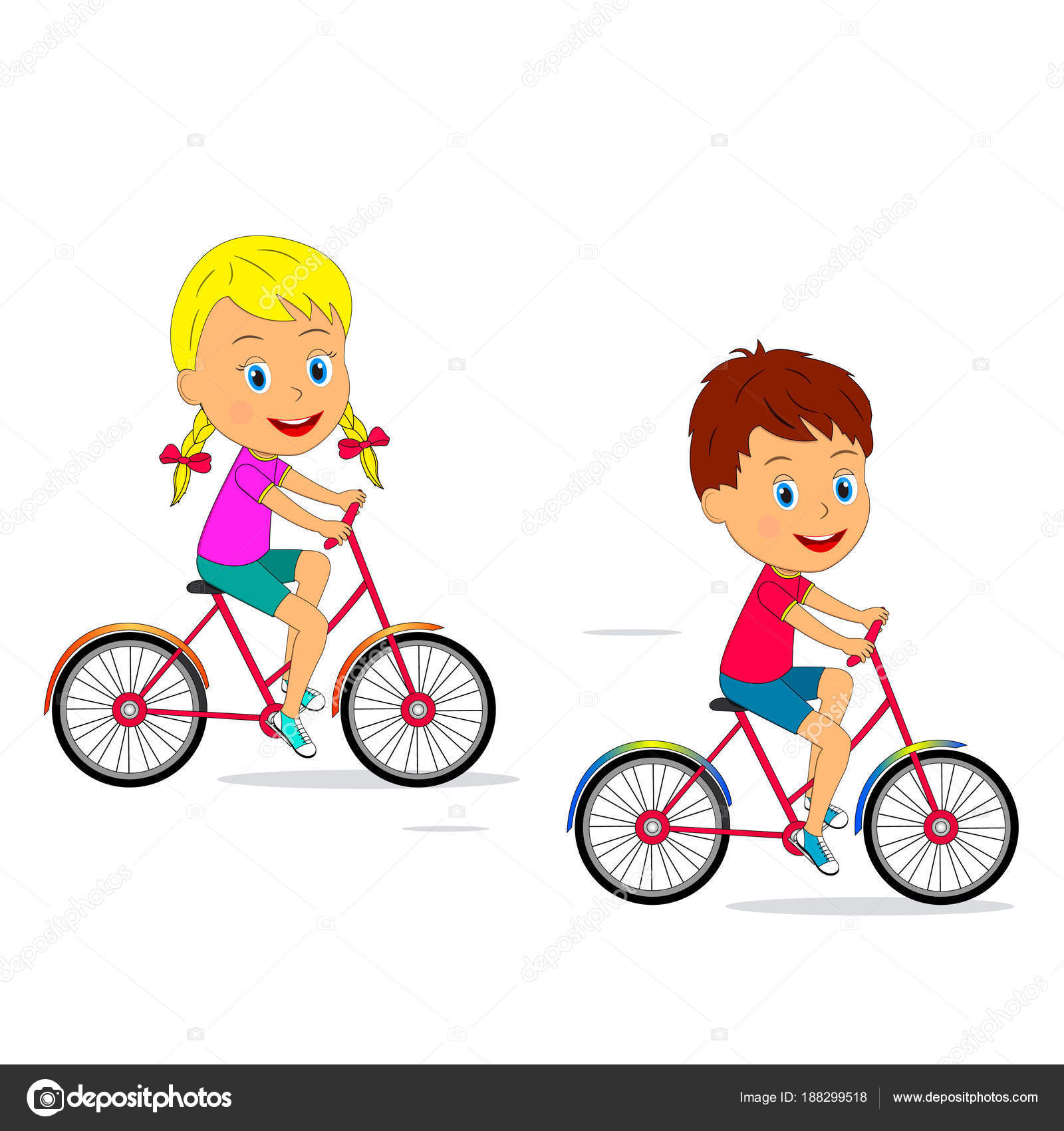Kids Ride A Bike Stock Vector C Iris828 188299518