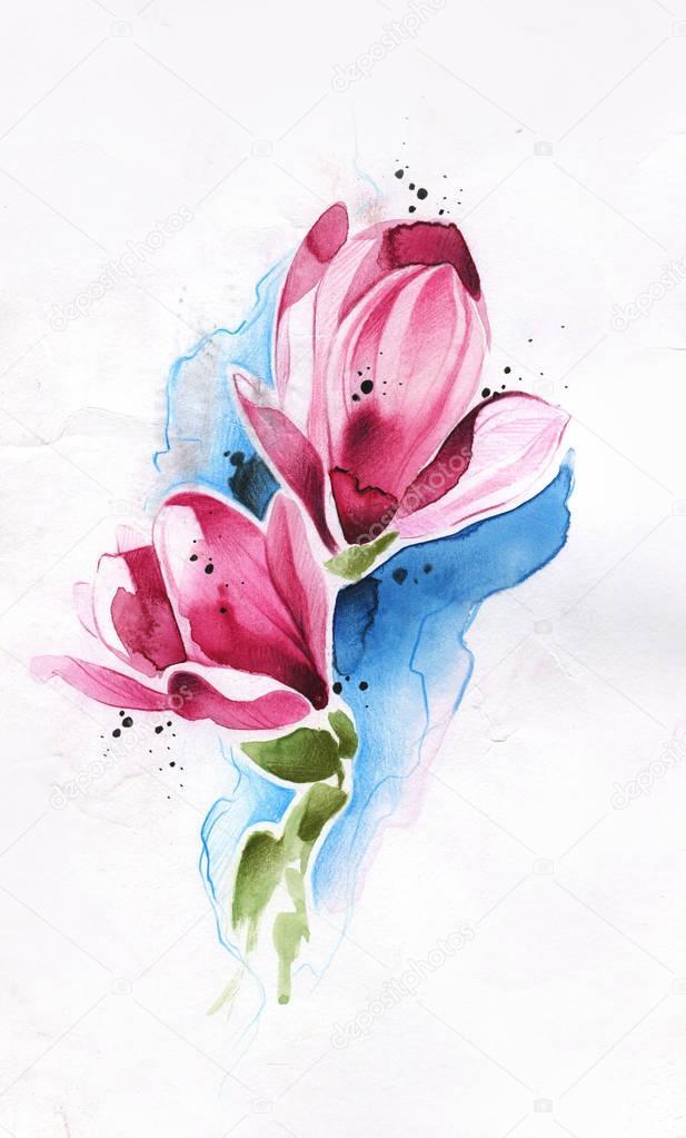 Blume Gezeichnet Von Pinsel Bleistift Und Aquarell Stockfoto
