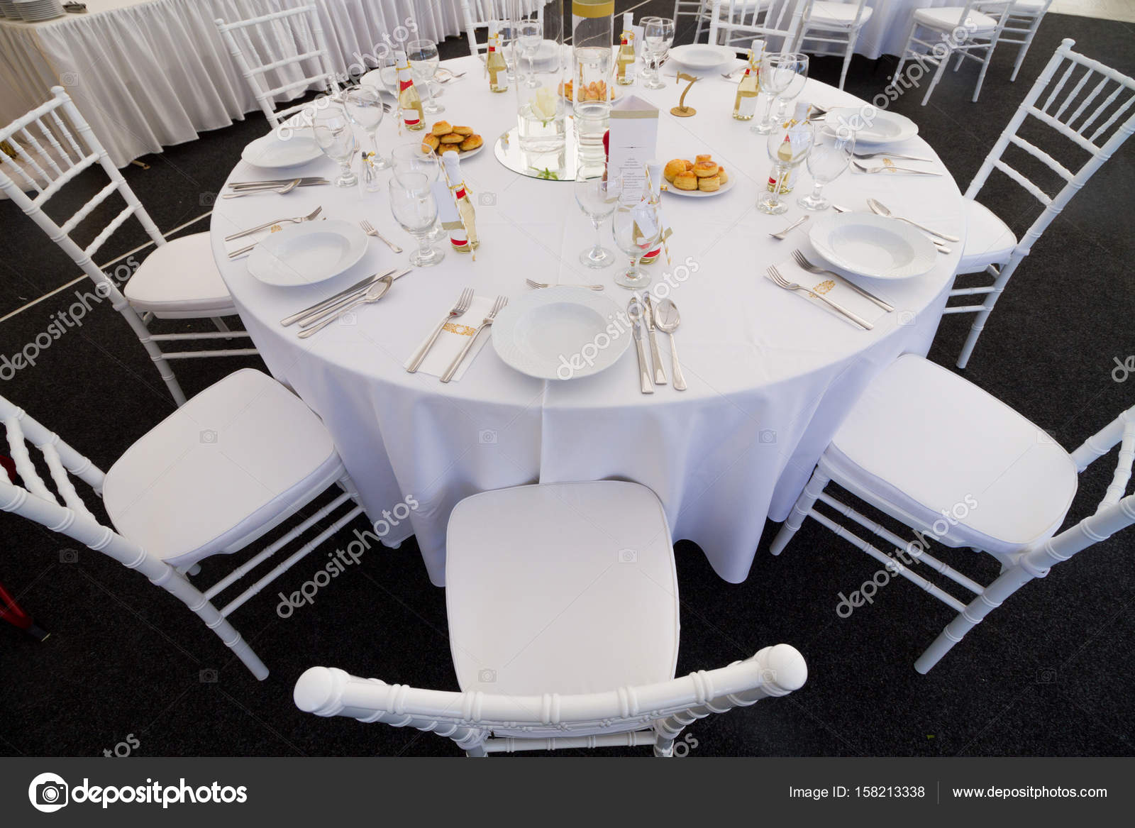 fancy table set for a wedding dinner — Stock Photo © ctvvelve #158213338