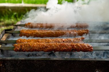 Traditional Turkish Adana Kebap on the grill with skewers for dinner. Turkish cuisine food culture in Turkey. Adana kebab on the mangal in nature. Picnic.