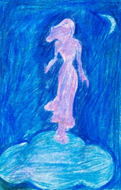 Pink silhouette of Venus on a blue cloud, hand drawn by color pencils