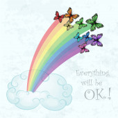 Rainbow with multicolored butterflies and clouds over pastel blue sky background
