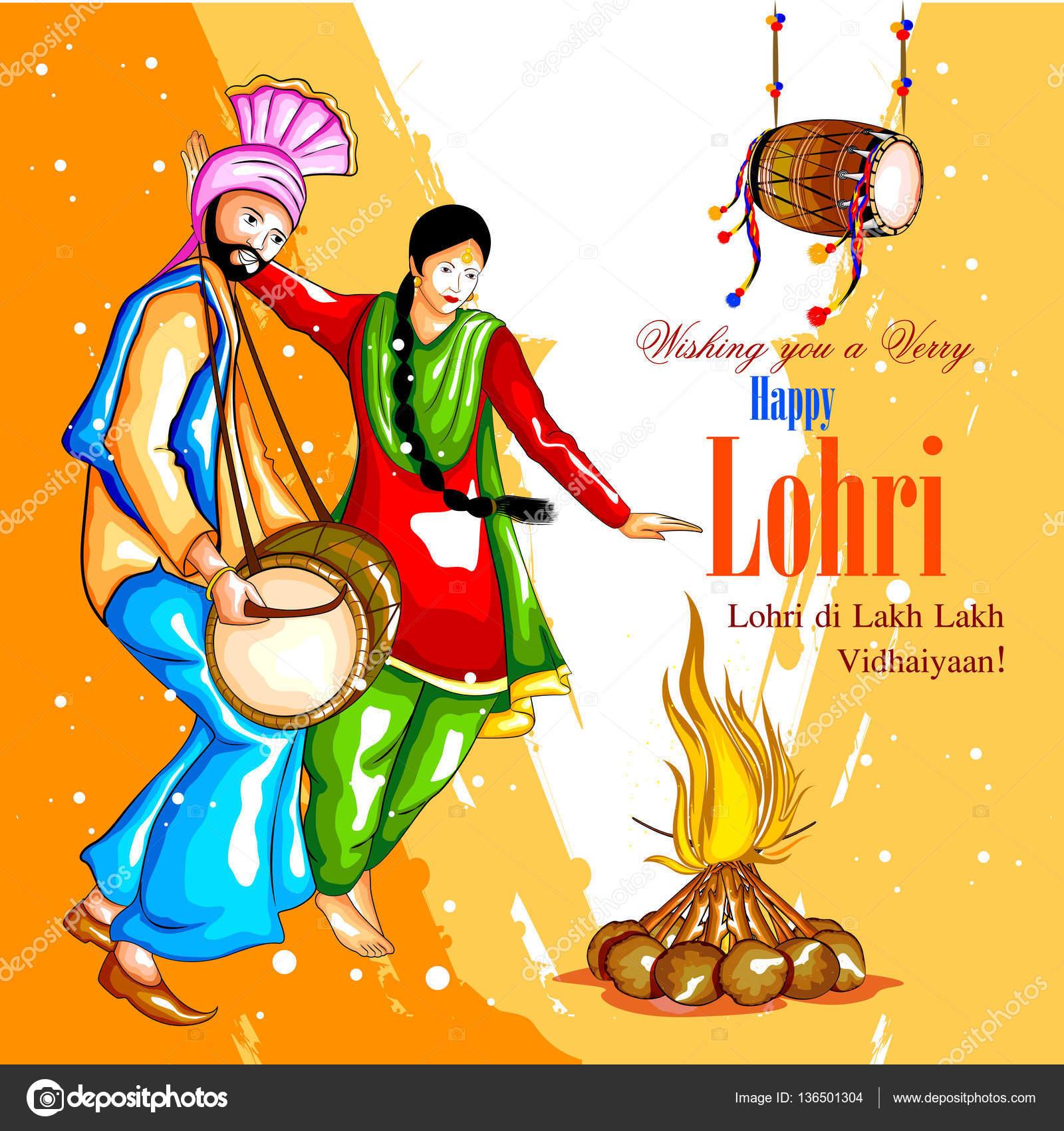 Happy Lohri festival of Punjab India background — Stock ...