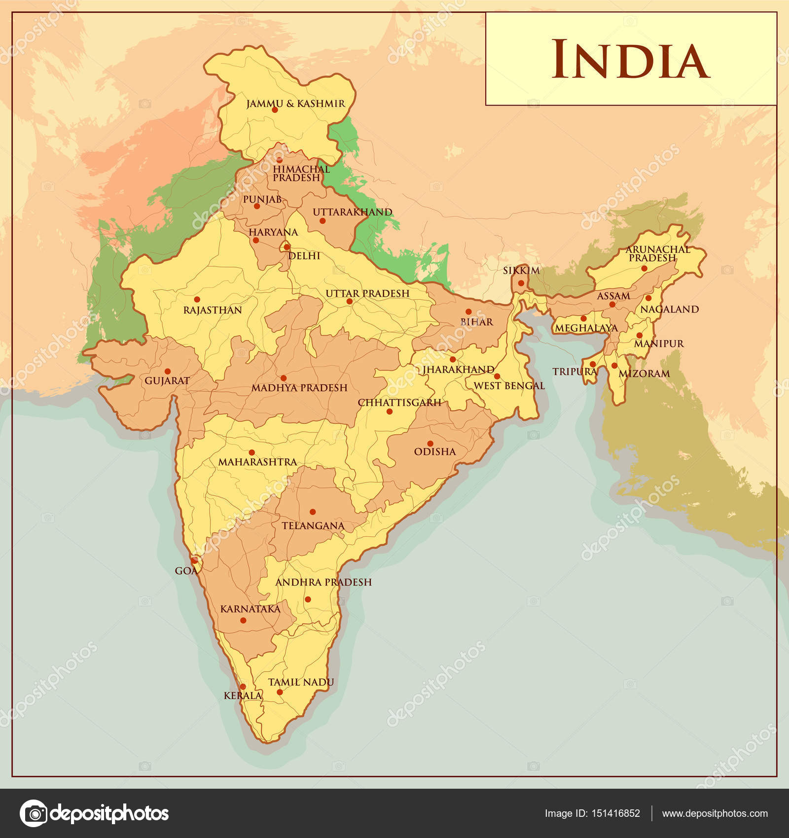 Physical map of india with different state stock vector physical map of india with different state stock vector gumiabroncs Image collections