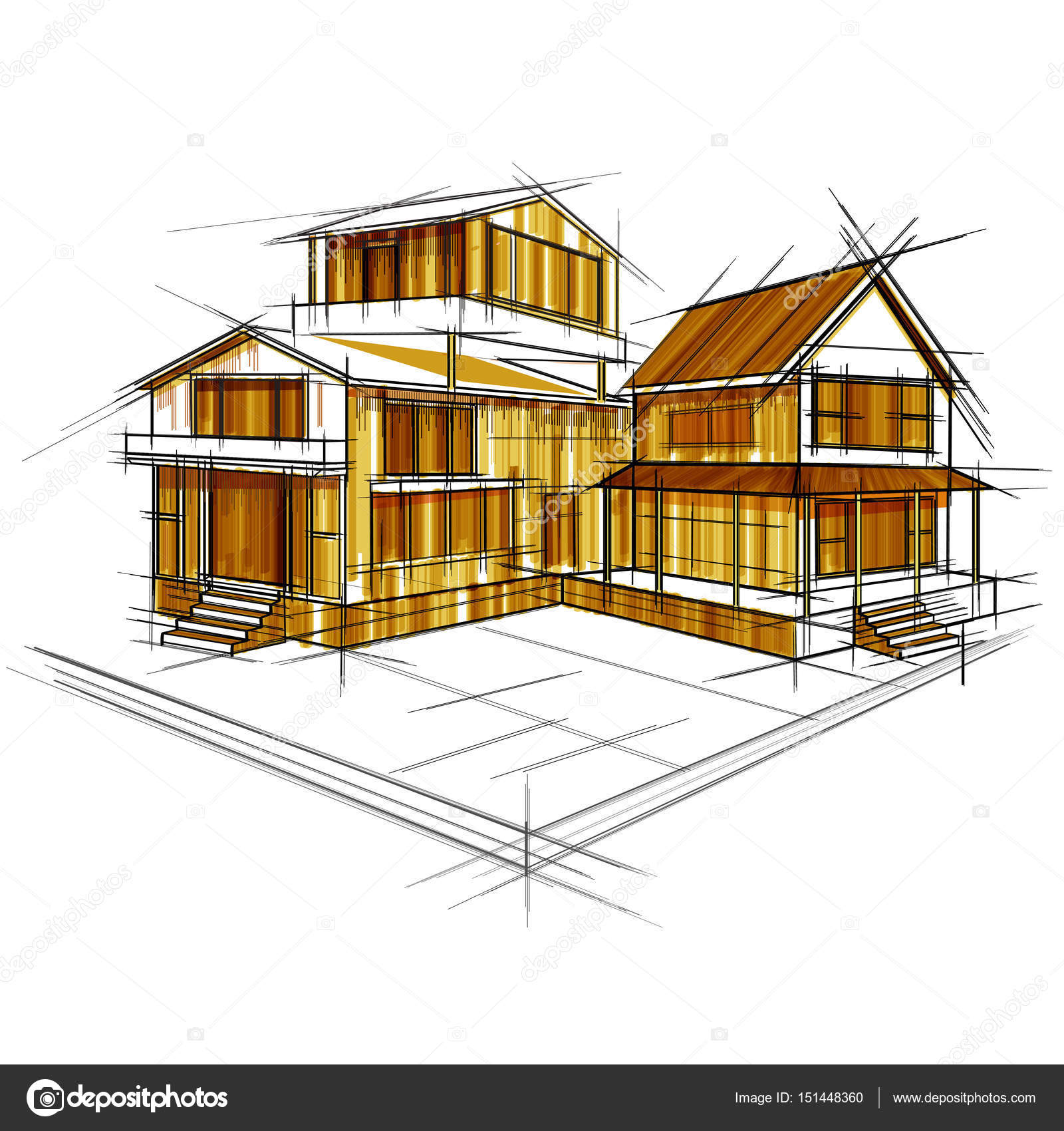 Sketch of exterior building draft blueprint design stock vector sketch of exterior building draft blueprint design stock vector malvernweather Image collections