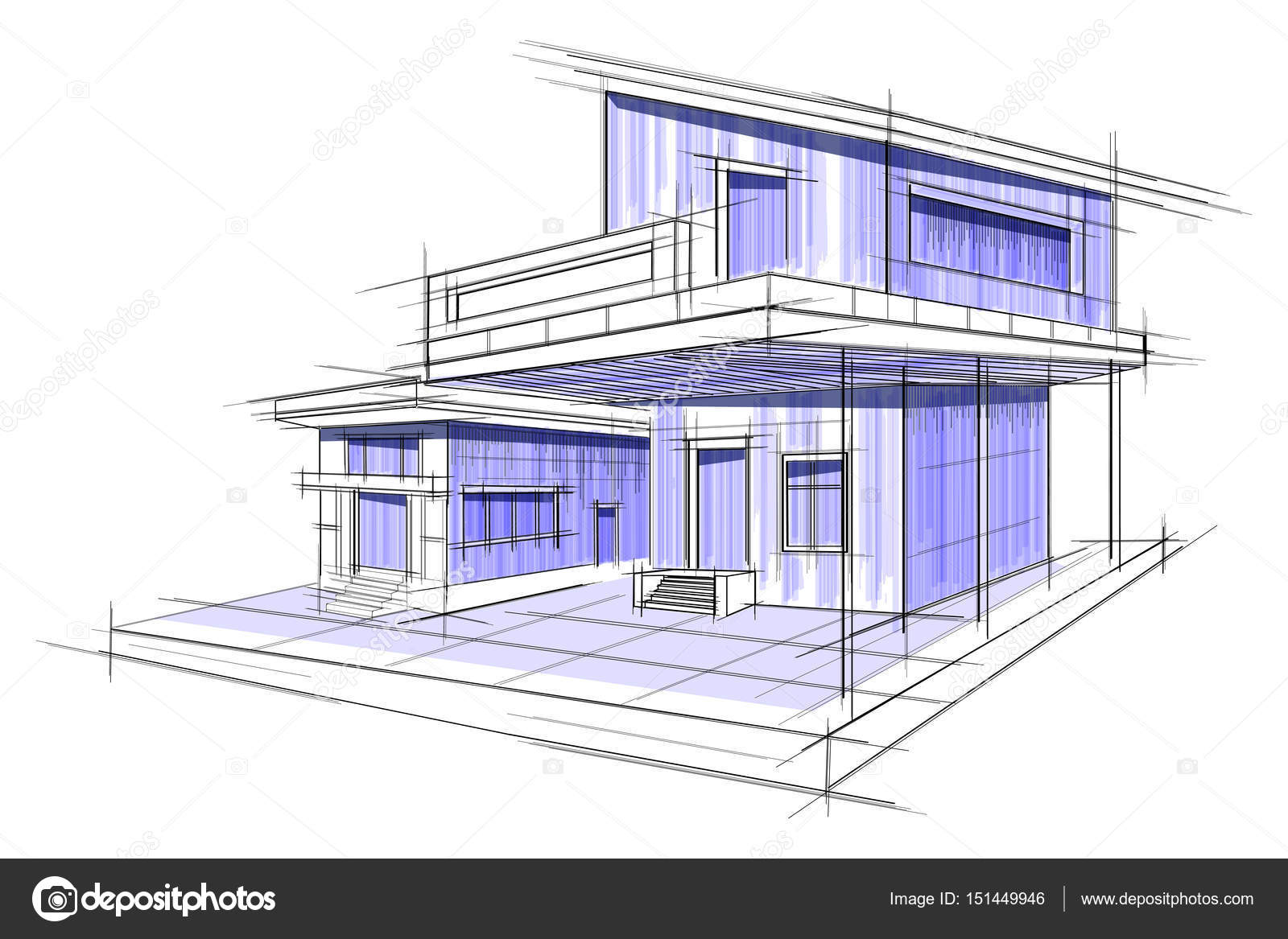 Sketch of exterior building draft blueprint design stock vector easy to edit vector illustration of sketch of exterior building draft blueprint design vector by snapgalleria malvernweather Images