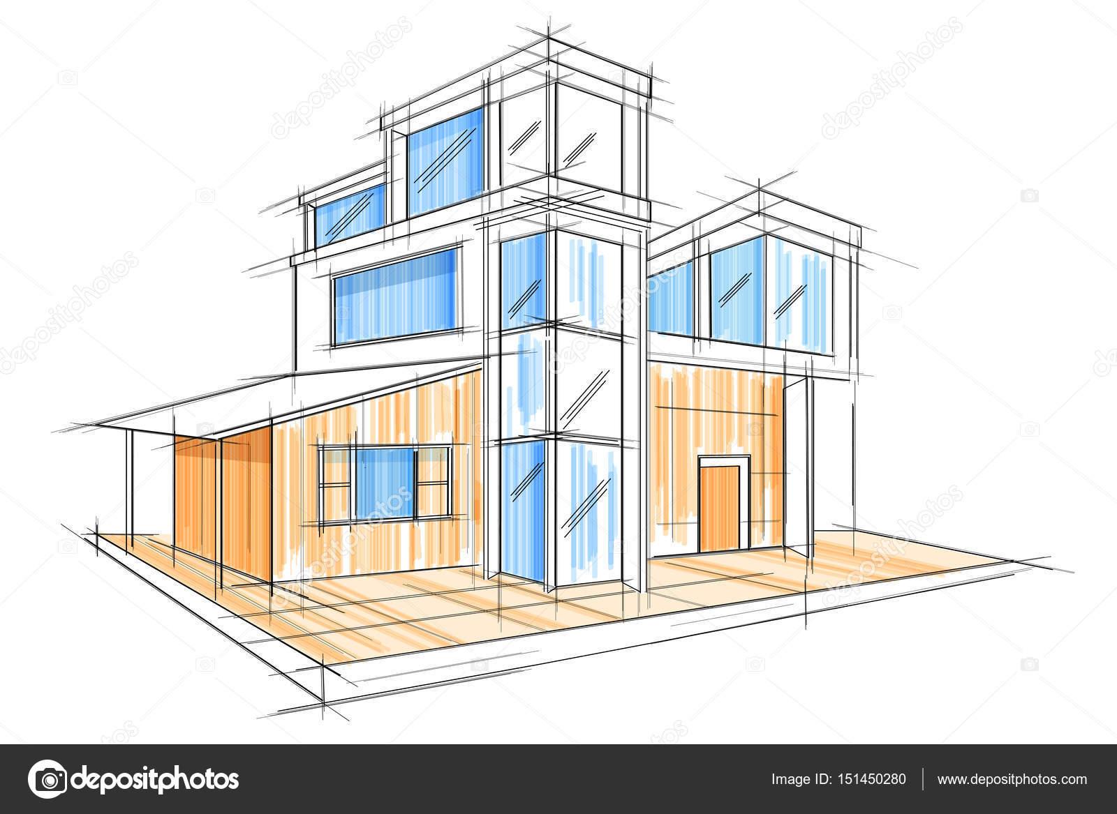 Schets van de buitenkant ontwerp blauwdruk bouwontwerp