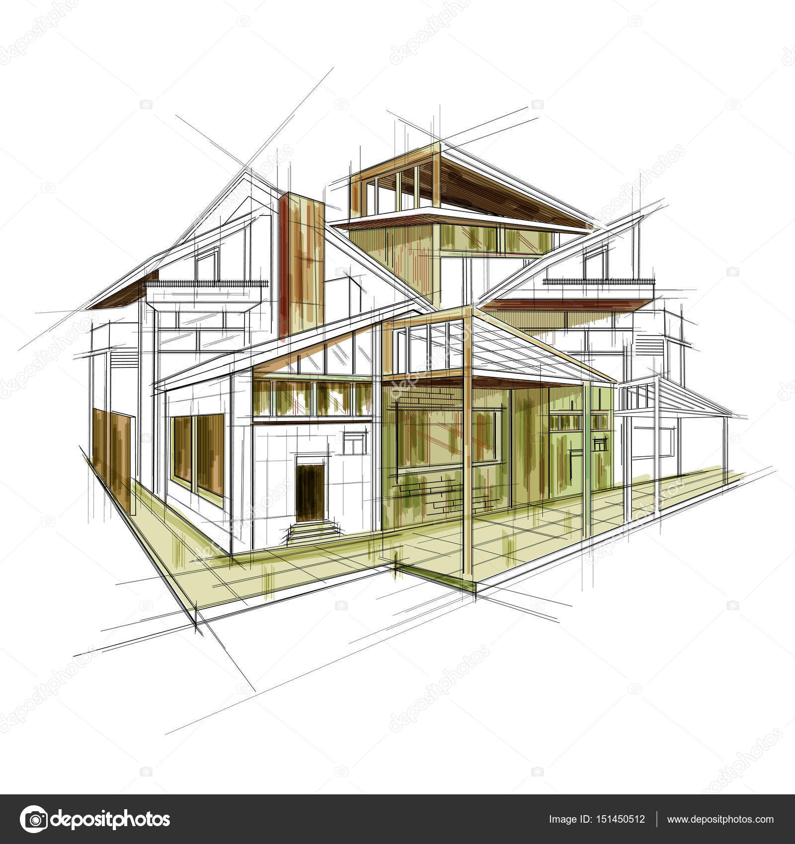 Sketch of exterior building draft blueprint design stock vector sketch of exterior building draft blueprint design stock vector malvernweather Choice Image