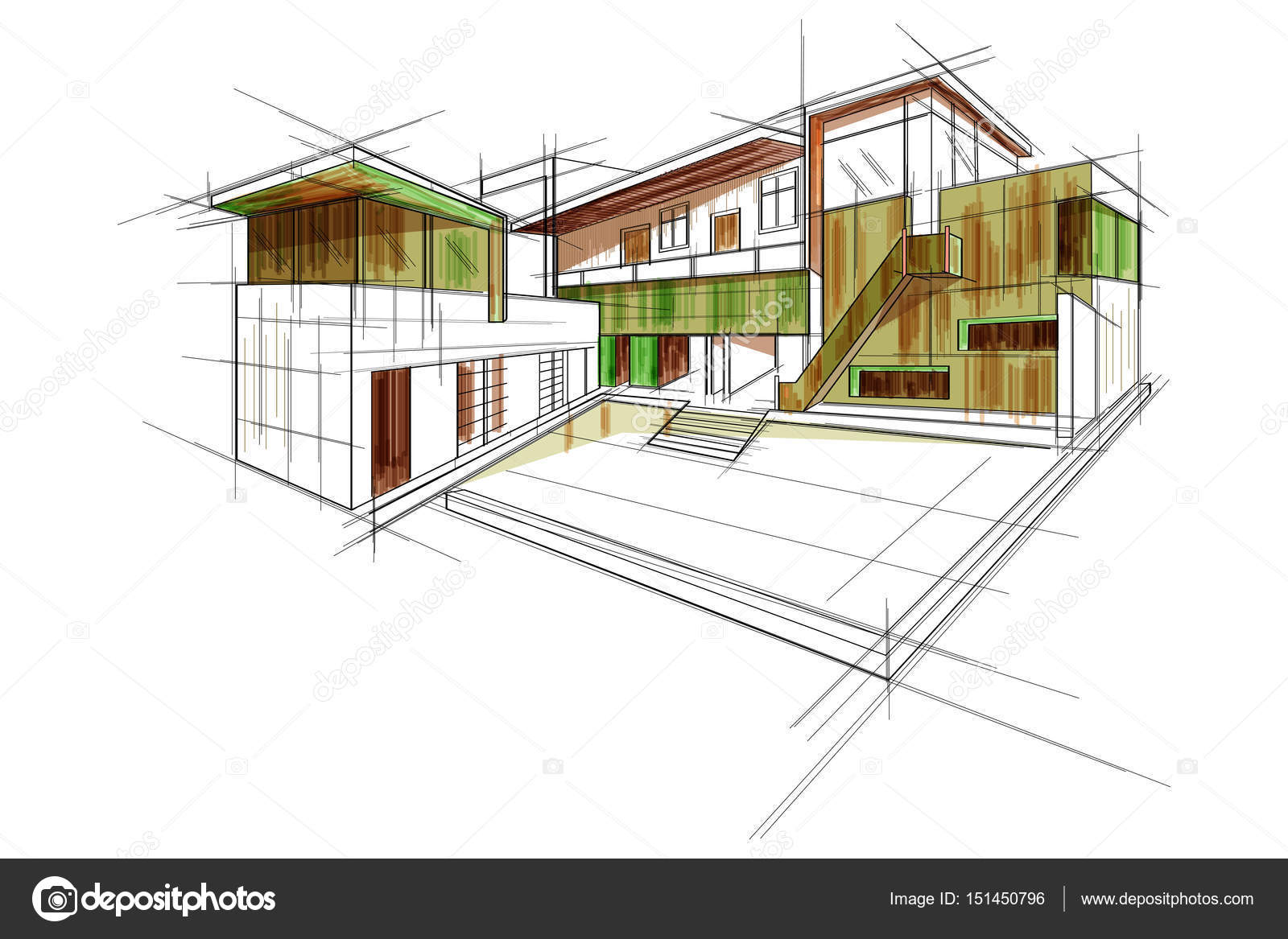 Sketch of exterior building draft blueprint design stock vector sketch of exterior building draft blueprint design stock vector malvernweather Images