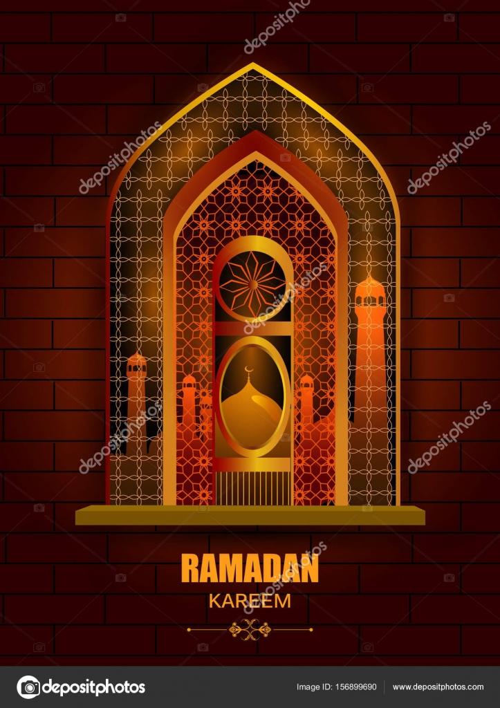 Islamic Design Mosque Door And Window For Ramadan Kareem Happy Eid  Celebration Background U2014 Stock Vector