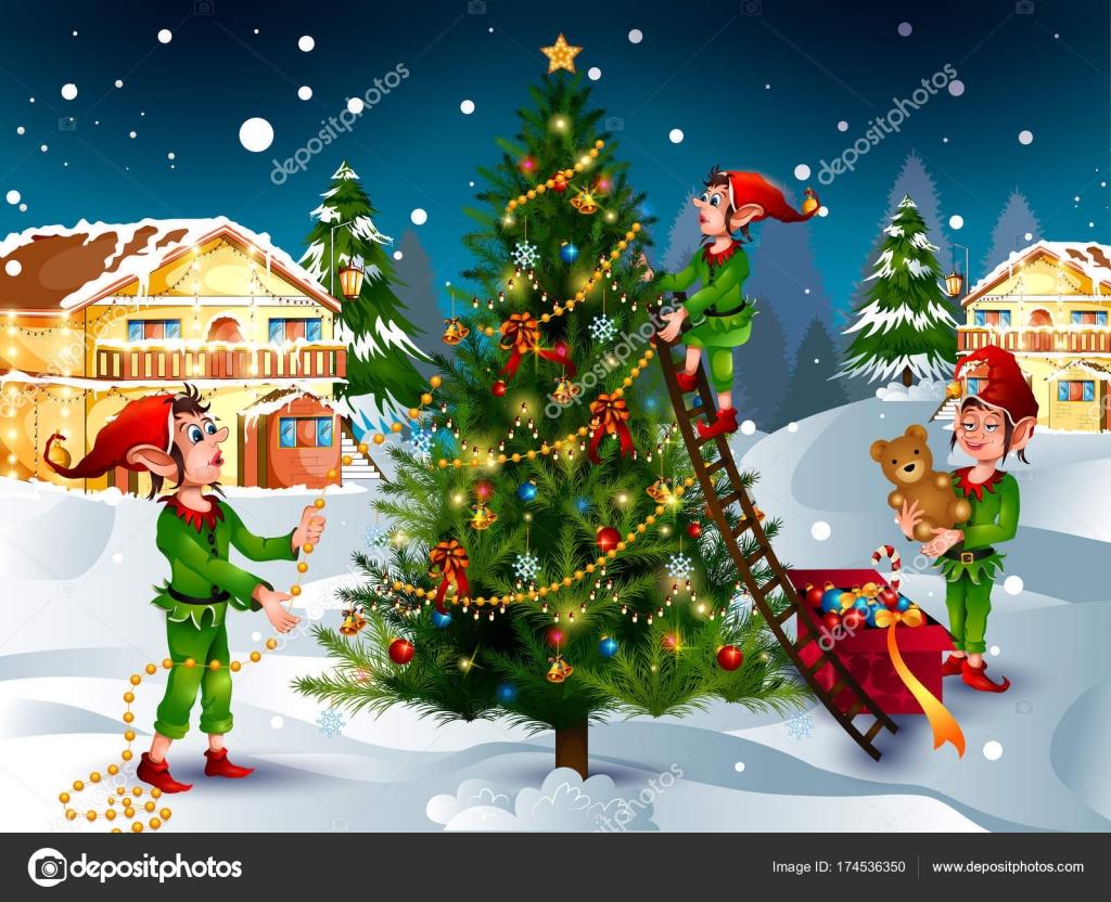 Weihnachten Bilder Bearbeiten.Elfe Mit Geschenk Im Winter Hintergrund Für Frohe Weihnachten Urlaub
