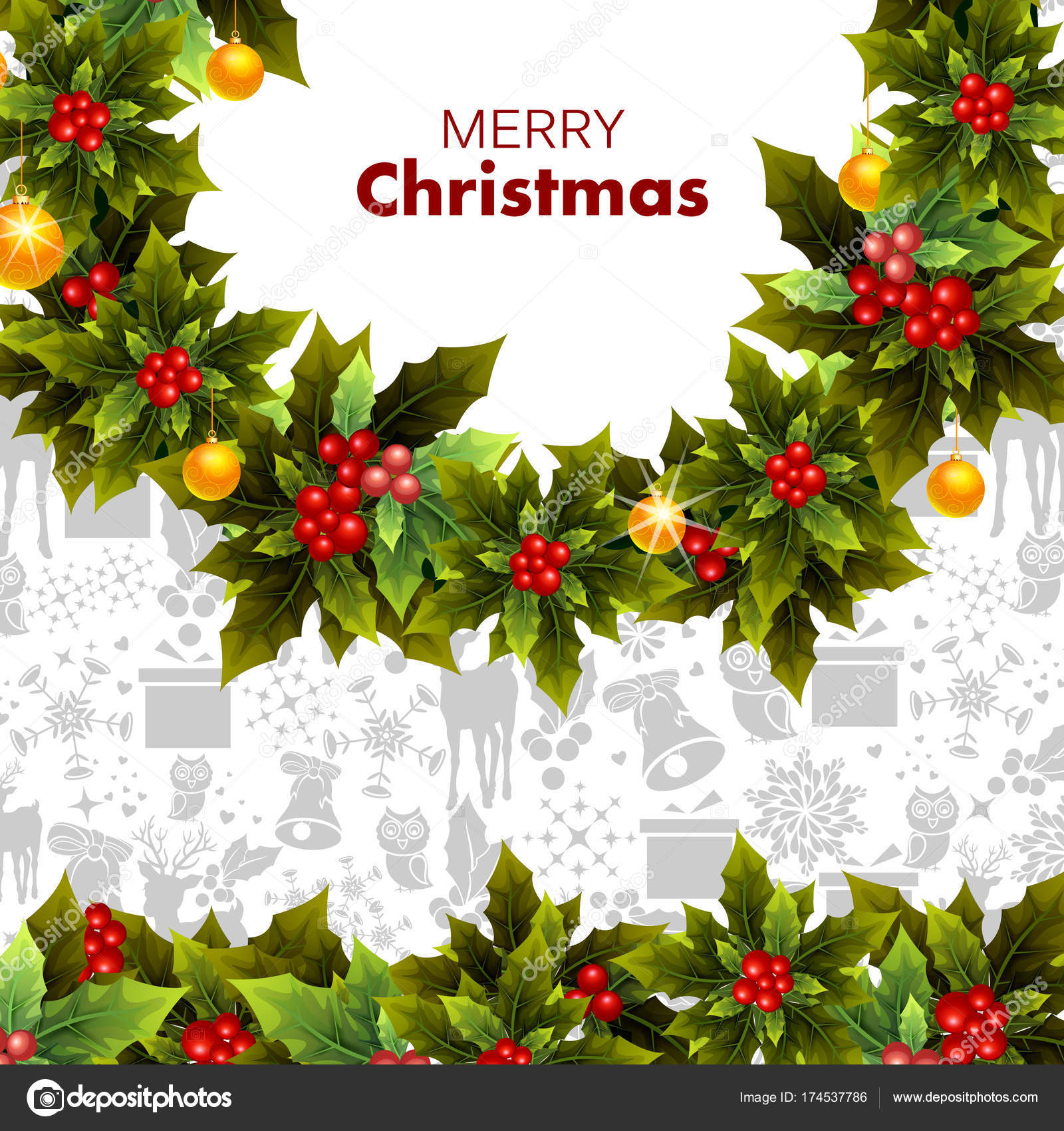 Decoration For Happy New Year And Merry Christmas Greeting Stock