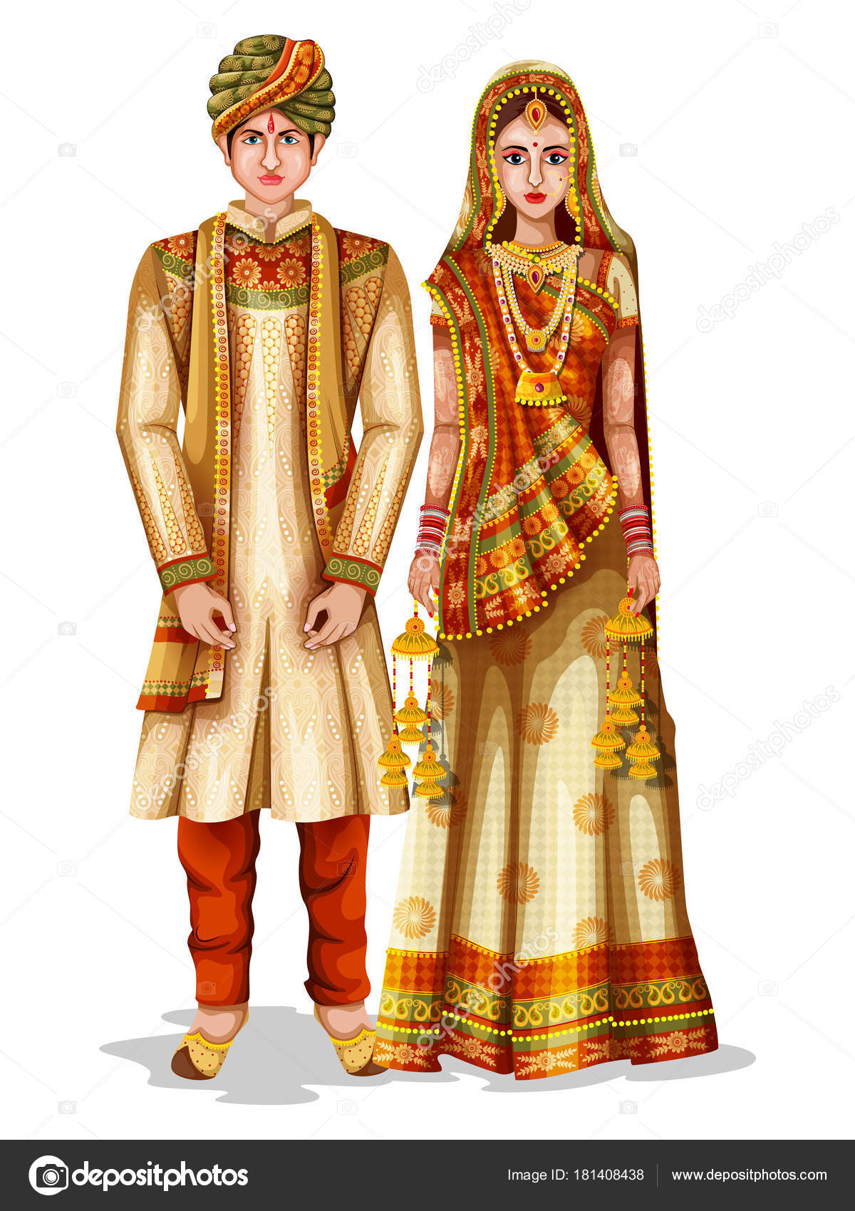 ddb16ac892 Haryanvi wedding couple in traditional costume of Haryana, India — Stock  Vector