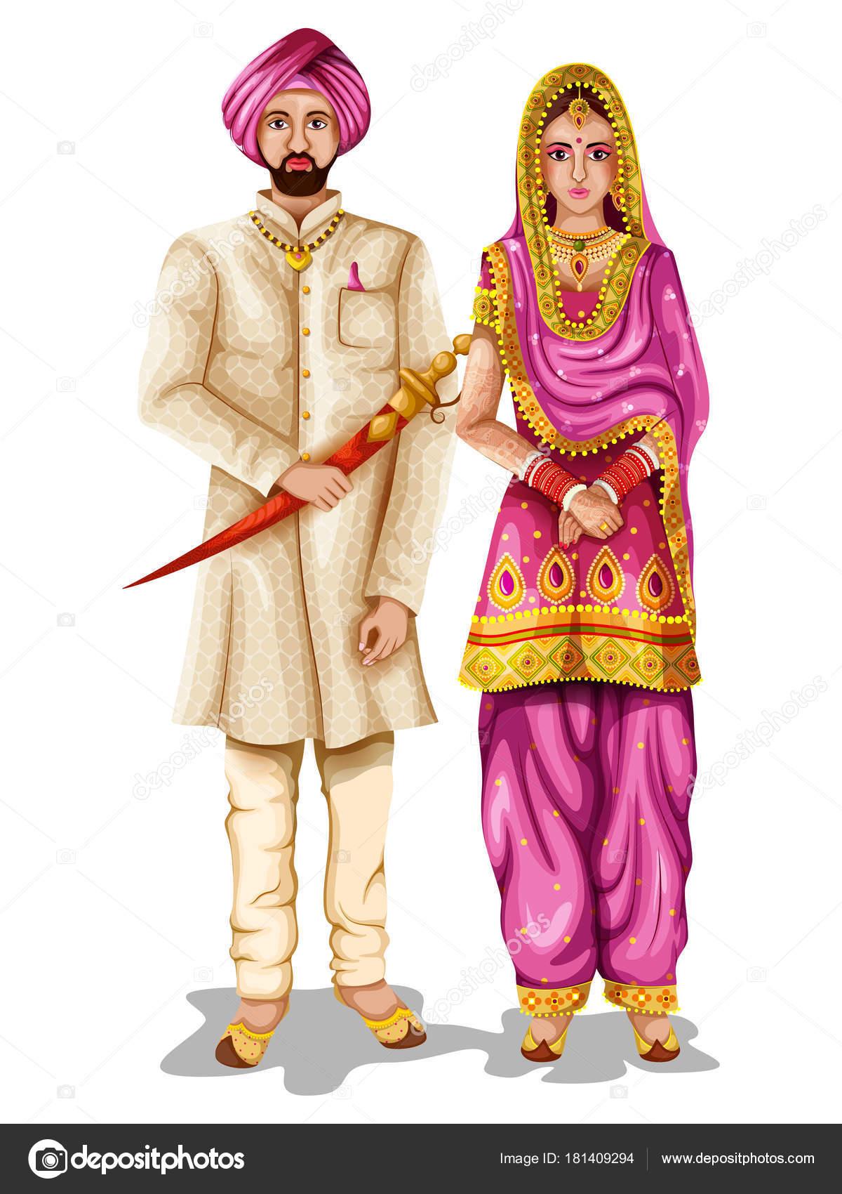 Punjabi wedding couple in traditional costume of Punjab, India ...