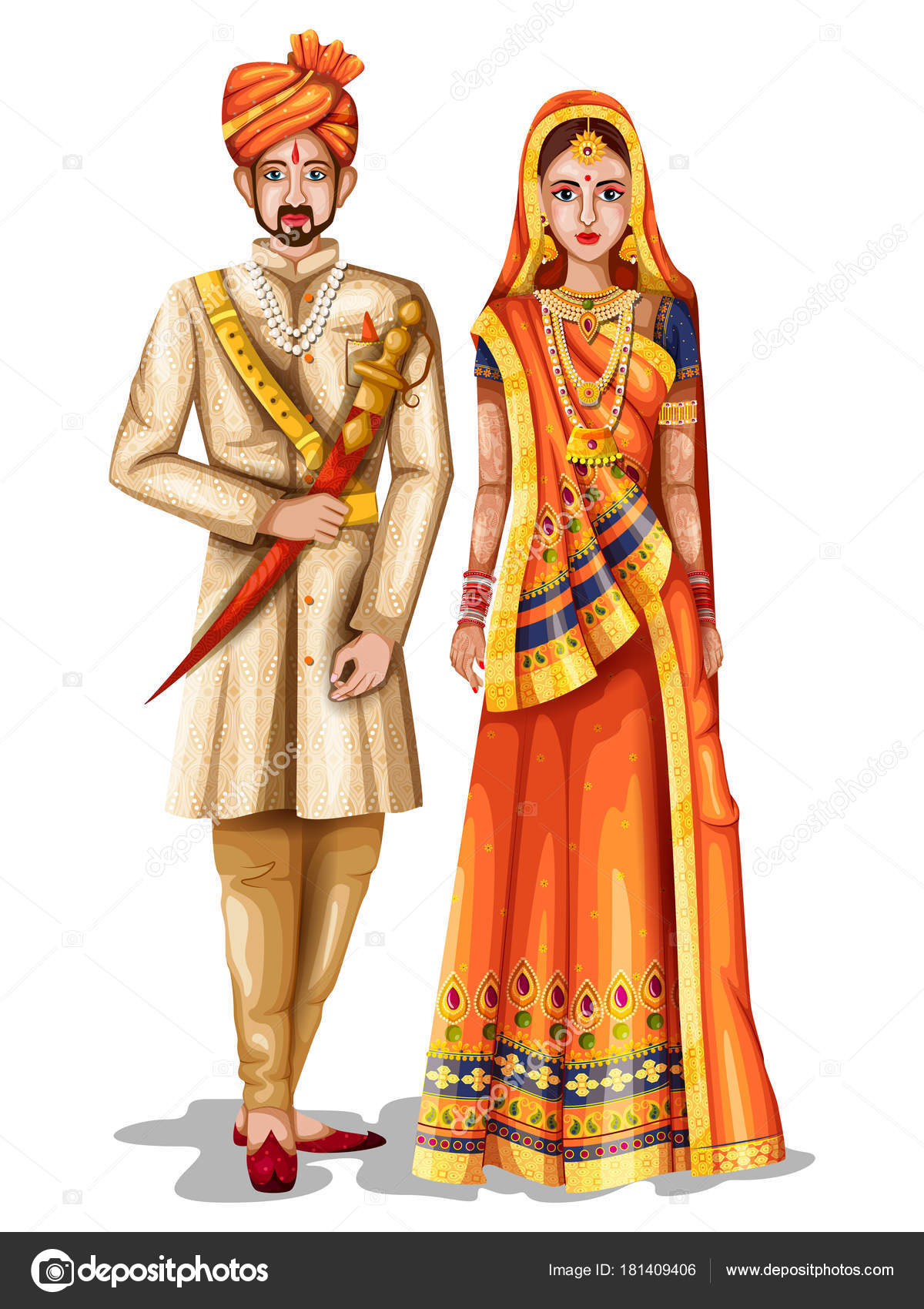 Rajasthani Wedding Couple In Traditional Costume Of