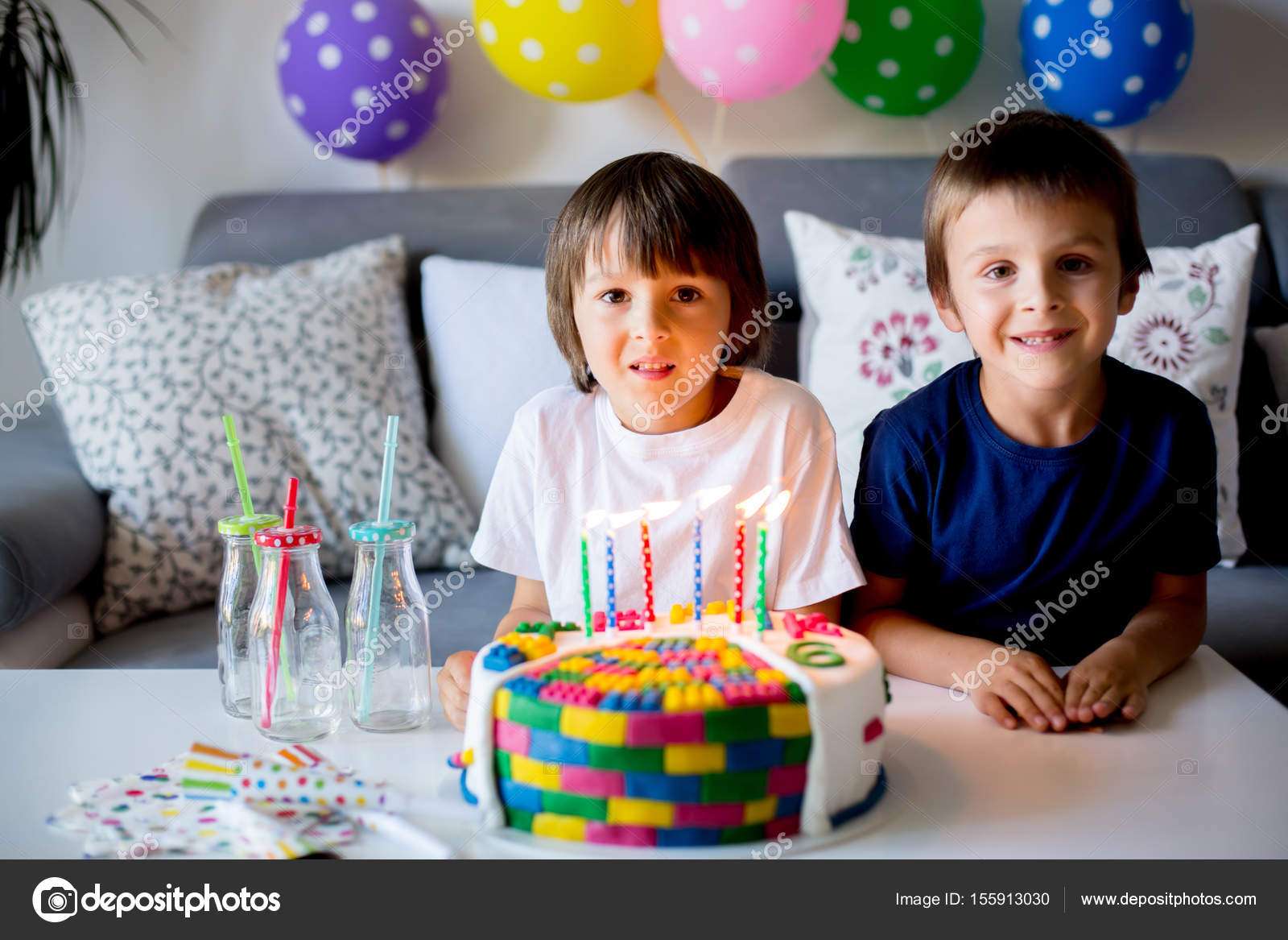 Sweet Little Child And His Brother Celebrating Sixth Birthday Cake Balloons Candles Cookies Childhood Happiness Concept Photo By