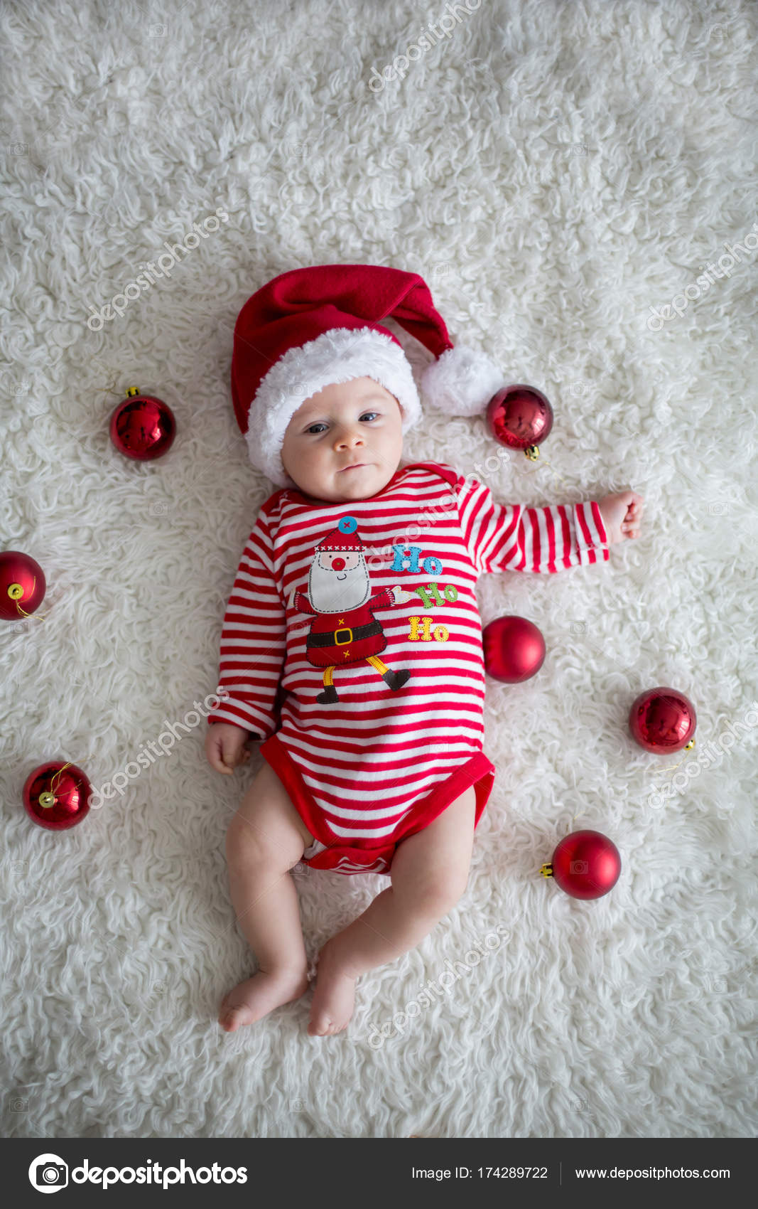 Christmas Portrait Of Cute Little Newborn Baby Boy Stock Photo C T
