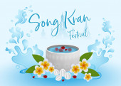 Songkran Festival concept infographic, Vector illustration with water bowl and plumeria flower on water background