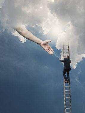 Man Climbing on Ladder to Heaven