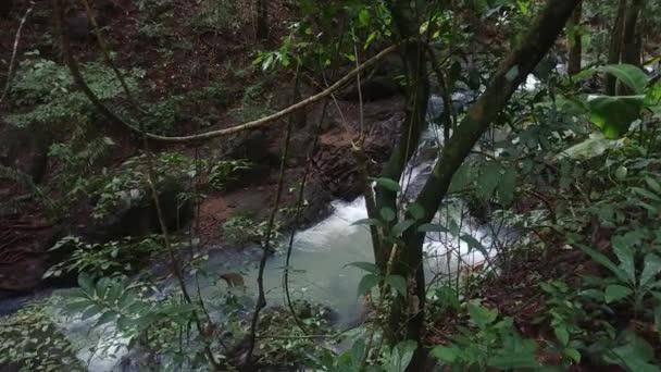 Schwerer Wasserfluss stürzt im Dschungel des Regenwaldes von Panama in felsiges Gelände