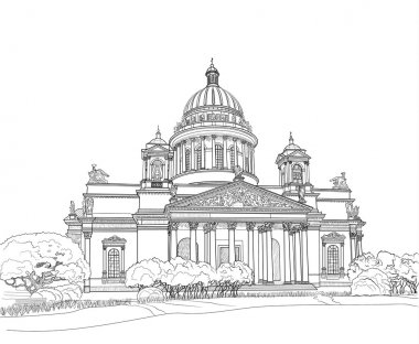 Sketch of Isaacs Cathedral in Saint Petersburg clip art vector